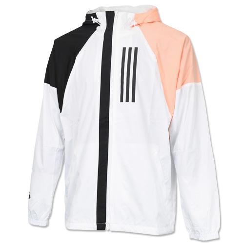 アディダス M WND ジャケット(裏メッシュ) ホワイト×ブラック×グローピンクF19 サッカーウェア