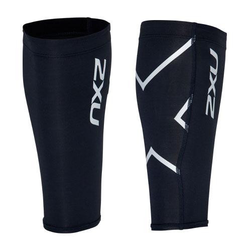2XU PWX コンプレッションカーフガード 黒×シルバーロゴ サッカーウェア